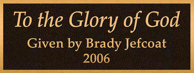 """Church Dedication Plaque """"To the Glory of God"""""""