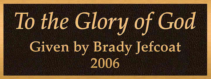 """To the Glory of God"" Church Dedication Plaque"