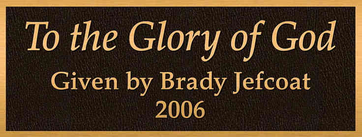 "Church Dedication Plaque ""To the Glory of God"""