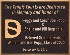 School Tennis Court Dedication Plaque