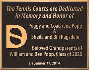 School Tennis Court Dedication Plaque