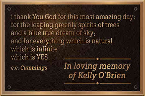 Personalized Memorial Plaque with e.e. Cummings quote