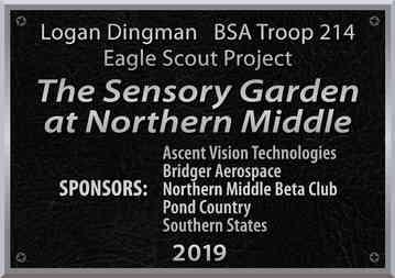 Middle School Garden Sponsor Plaque