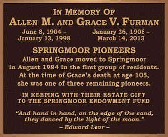 Ritirement Community Memorial Wall Plaque