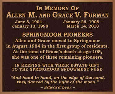 Ritirement Community Memorial Wall Plaque