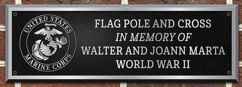 US Marines Military Flagpole Memorial Plaque