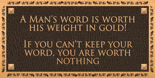A Man's Word Inspirational Quote Plaque