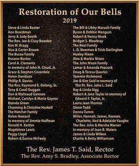 Church Bell Restoration Appreciation Plaque