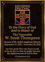 Church Dedication Plaque with Scripture for Pastor