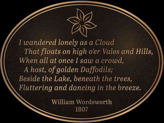 Wordsworth Poem Oval Garden Plaque