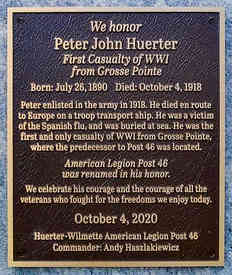 Memorial Plaque for American Legion Veteran