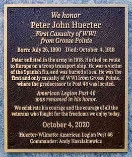 Memorial Plaque for American Legion Veteran