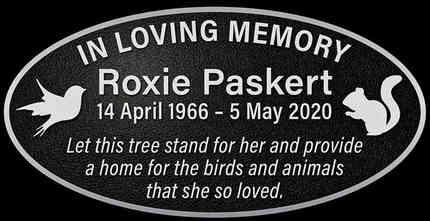 Aluminum Memorial Tree Plaque