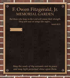 Church Columbarium Memorial Garden Plaque