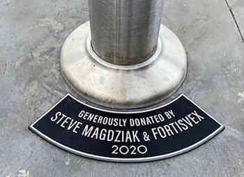 Curved Aluminum Flagpole Sponsor Plaque