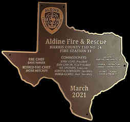 Fire & Rescue Station Dedication Plaque in the Shape of the State of Texas