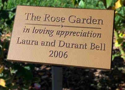 The Rose Garden Appreciation Plaque