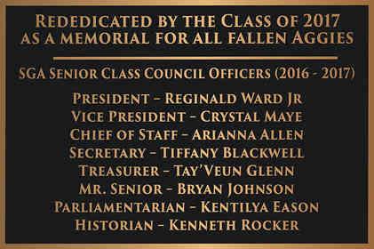 University Memorial Plaque for Senior Class