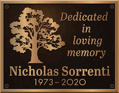 Memorial Dedication Plaque with Image of Tree