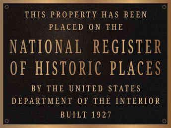 Custom Bronze National Historic Register Plaque