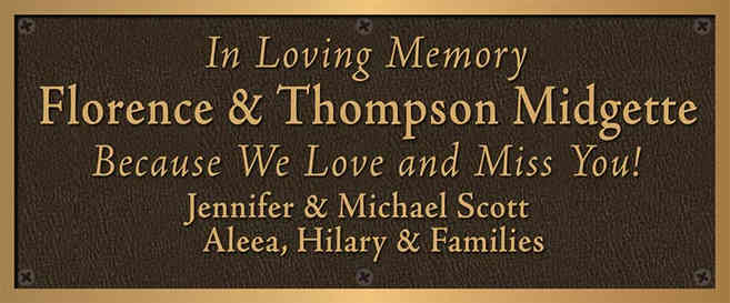 Church Memorial Plaque for Family Members