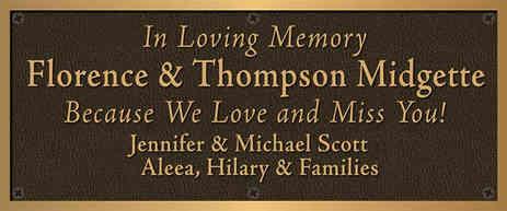 Church Memorial Plaque for Family Members
