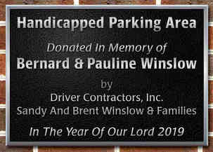Church Parking Area Dedication Plaque