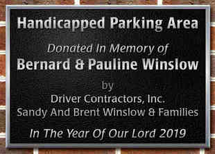 Church Parking Area Memorial Plaque