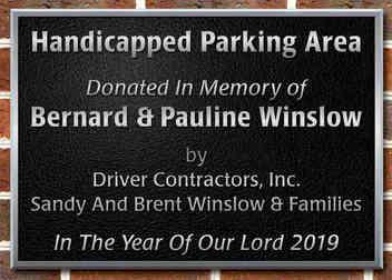 Church Parking Area Dedication Plaque