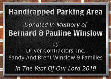 Church Parking Area Memorial Plaque