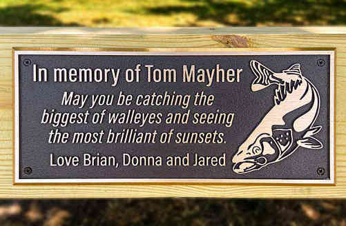 Personalized Bronze Memorial Bench Plaque with Image of Fish