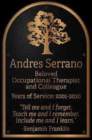 Dedication-Appreciation Plaque for Colleague