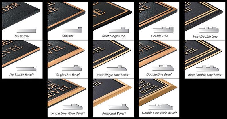 bronze and aluminum plaque border styles