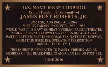 Military Exhibit Dedication Plaque
