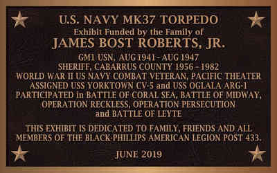 Military Exhibit Dedication Plaque