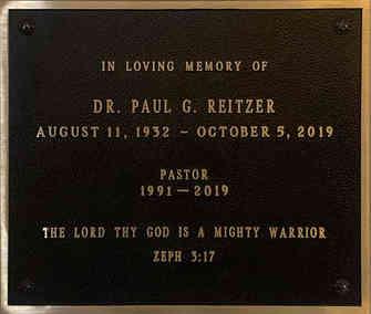 Church Memorial Wall Plaque for Pastor