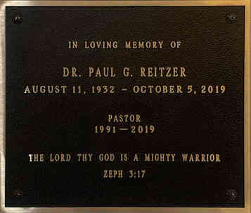 Church Memorial Wall Plaque for Pastor