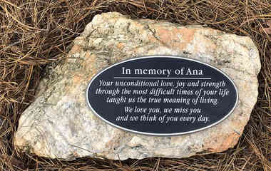Oval Memorial Plaque / Adhered to Stone