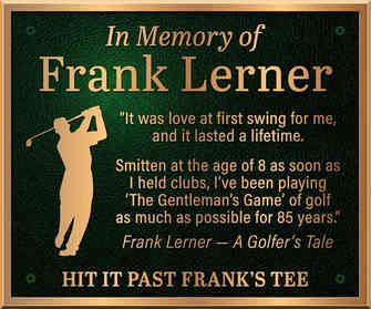 Memorial Plaque for Golfer