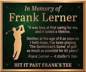 Memorial Plaque for Golfer
