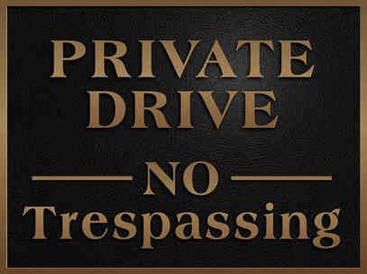 "Custom Bronze ""Private Drive No Trespassing"" Sign"