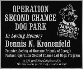 Operation Second Chance Dog Park Memorial Plaque