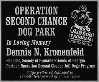 Operation Second Chance Dog Park Memorial Plaque