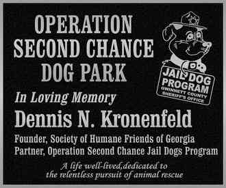 Second Chance Dog Park Memorial Plaque