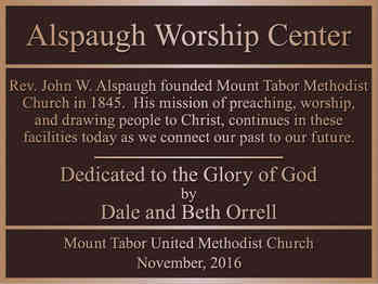 Church Worship Center Dedication Plaque