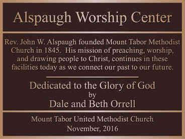 Church Worship Center Memorial Plaque