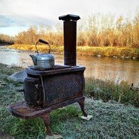Wooden Camp Stove by the River