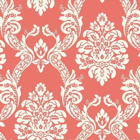 WALLPAPER OGEE DAMASK WHITE ON RED