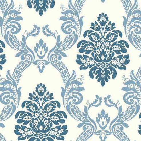 WALLPAPER OGEE DAMASK BLUE ON WHITE