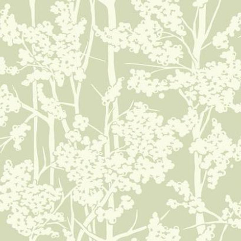WALLPAPER HAVEN WHITE ON GREEN